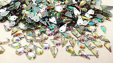 Galantéria - Ozdobné kamienky našívacie 6 x 13 mm - AB Crystal - 9424680_