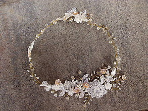 Ozdoby do vlasov - svadobný čipkový venček do vlasov - marhuľový - 9423870_