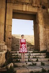 Šaty - Ľanové červené šaty Slavianka - 9421804_