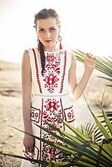 Šaty - zľava %Dlhé úzke vyšívané šaty Slavianka - 9421893_
