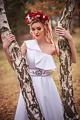 Šaty - Biele midi šaty s opaskom Slavianka - 9421954_