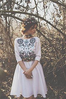 Šaty - Vyšívané krátke šaty Slavianka (38 - Béžová) - 9421973_