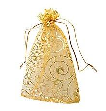 Obalový materiál - VO105 Organzové vrecúško zlaté 9x12 cm - 9421699_