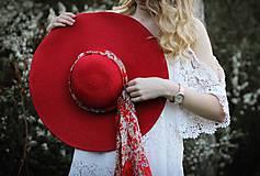 Čiapky - Letný klobúk červenej farby - 9422808_
