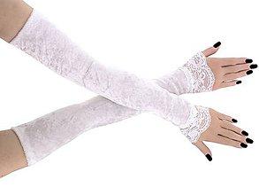 Rukavice - Svadobné zamatové bielé rukavičky 1085 - 9424762_