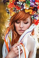 Ozdoby do vlasov - Jarná kvetinová parta so stuhami a čipkami VÝPREDAJ - 9424704_