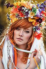 Ozdoby do vlasov - Jarná kvetinová parta so stuhami a čipkami VÝPREDAJ - 9424705_