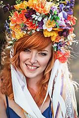 Ozdoby do vlasov - Jarná kvetinová parta so stuhami a čipkami VÝPREDAJ - 9424706_