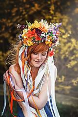 Ozdoby do vlasov - Jarná kvetinová parta so stuhami a čipkami VÝPREDAJ - 9424707_