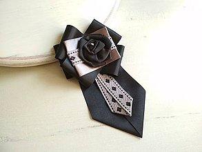 Odznaky/Brošne - Dámska kravata/brošňa pod golier ELEGANT - 9426816_