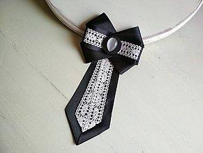 Odznaky/Brošne - Dámska kravata/brošňa pod golier Black&White - 9426941_