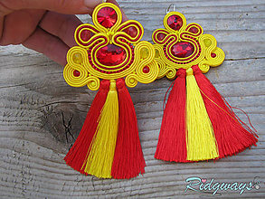Náušnice - Tassels collection...soutache (Red/Yellow) - 9426054_