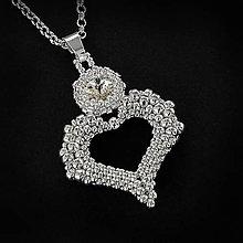 Náhrdelníky - šitý náhrdelník SRDCE (Crystal - Ag 925) - 9424959_