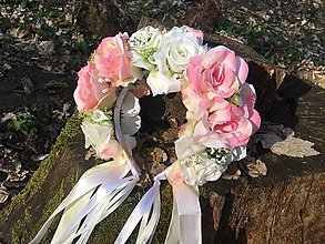 Ozdoby do vlasov - Romantická parta z ruží so stuhami - 9428150_