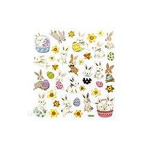 Papier - Zlaté, fóliové nálepky - zajačiky, 37ks - 9427065_