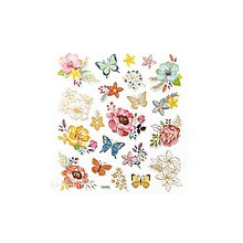 Papier - Zlaté, fóliové nálepky - Kvetiny a motýle, 21ks - 9427115_