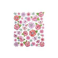 Papier - Glitrované nálepky - kvetiny, 46ks - 9427174_