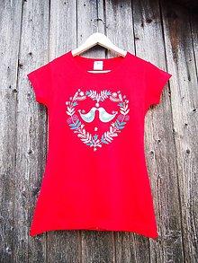 Tričká - Červené tričko s folk srdcom - XS a S (XS) - 9425469_