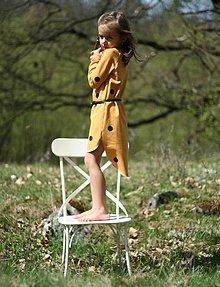Detské oblečenie - TEPLÁKOVÉ ŠATY s dlhým rukávom, horčicové - 9428812_
