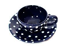 Nádoby - Modrá bodkovaná šálka s podšálkou - 9426134_