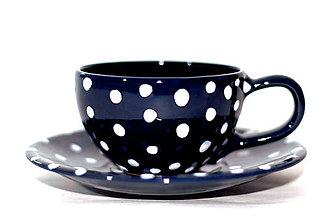 Nádoby - Modrá bodkovaná šálka s podšálkou - 9426133_