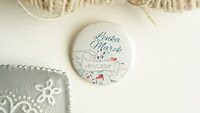 Drobnosti - Svadobný odznak, svadobná brošňa - 9426930_