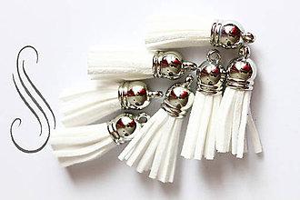 Polotovary - strapec koženkový biely/1ks - 9428725_