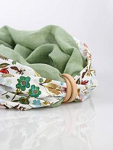 Šatky - Elegantný ľanovo bavlnený kvetinový nákrčník