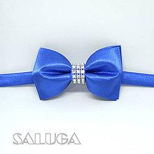 Doplnky - Pánsky kráľovský modrý motýlik s pútavým detailom - 9426914_