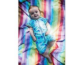 Detské oblečenie - 100% merino Rastúci overal kraťáskový - 9425267_