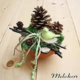 Dekorácie - Prírodná dekorácia s vtáčikom - 9425772_