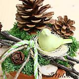 Dekorácie - Prírodná dekorácia s vtáčikom - 9425773_