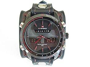 Náramky - Kožený remienok čierno hnedý s hodinkami naviforce - 9428603  e6e28370d87