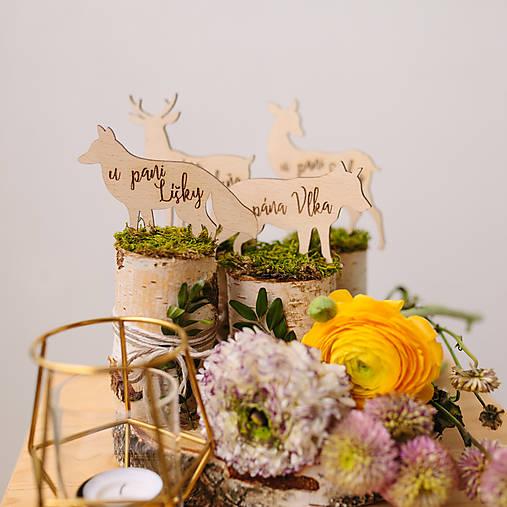 Označenie stolov na svadbu (Sada 8mich zvieratiek)