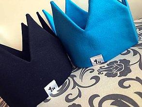 Detské čiapky - Korunky a šatky na hlavičky  (Modrá) - 9425079_