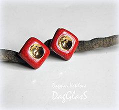 Náušnice - náušnice ...červené so zlatom... - 9426799_