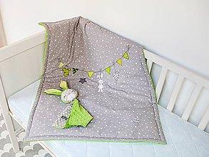 Textil - Detská deka šedo-zelená - 9426766_