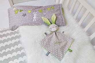 Hračky - Mojkáčik zajko šedo-zelený - 9426791_