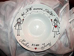 Darčeky pre svadobčanov - Svadobný tanierik - 9428520_