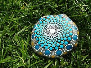 Dekorácie - Modrý gaderský - Na kameni maľované - 9426232_