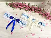 Bielizeň/Plavky - Najpredávanejší svadobný podväzok Folk modrá mašľa - 9428247_