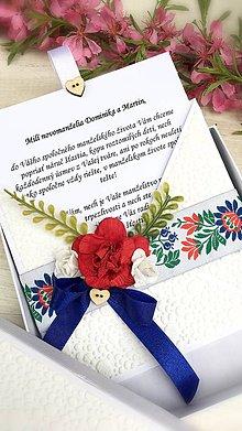 Papiernictvo - Poďakovanie rodičom alebo svadobná pohľadnica Folk v krabičke - 9428607_