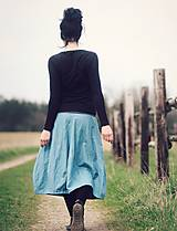 Sukne - Lněná modrozelená - 9425936_