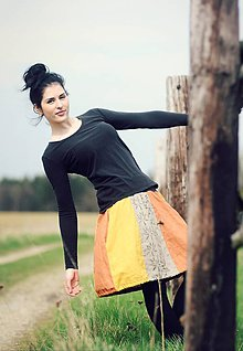 Sukne - Lněná s tiskem - Žlutozrzavobéžová - 9425142_