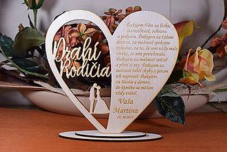Darčeky pre svadobčanov - Poďakovanie Rodičom srdce vyrezávané 17 - 9425070_