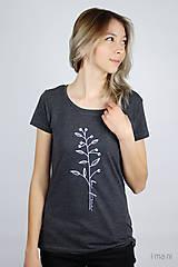 Tričká - Dámske tričko sivý melír kvet IV - 9425273_