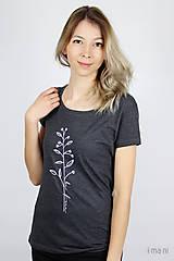 Tričká - Dámske tričko sivý melír kvet IV - 9425276_