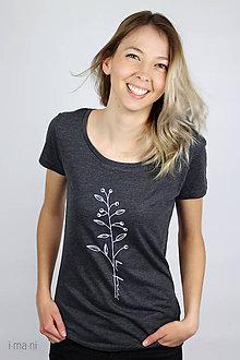 Tričká - Dámske tričko sivý melír kvet IV - 9425275_