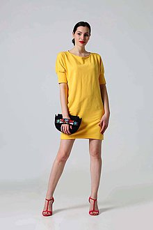 Šaty - Žlté teplákové šaty s puff rukávmi - 9429728_