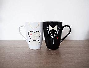Nádoby - Nevesta a ženích - hrnčeky latte - 9431939_